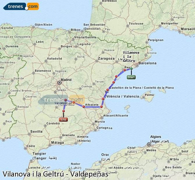 Ampliar mapa Trenes Vilanova i la Geltrú Valdepeñas