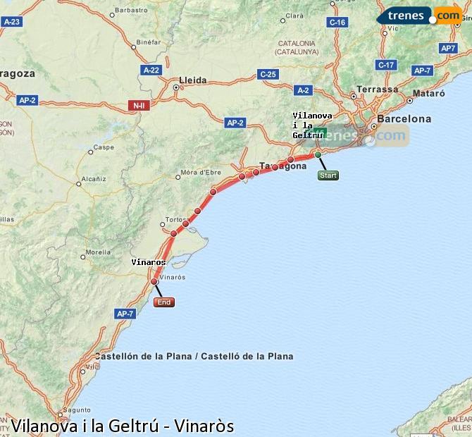 Ingrandisci la mappa Treni Vilanova i la Geltrú Vinaròs
