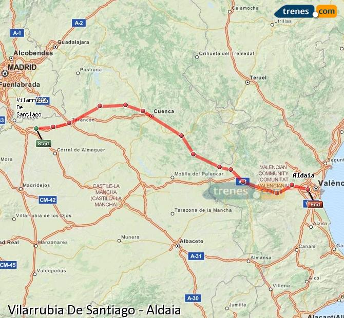 Enlarge map Trains Vilarrubia De Santiago to Aldaia
