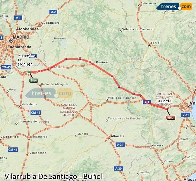 Enlarge map Trains Vilarrubia De Santiago to Buñol