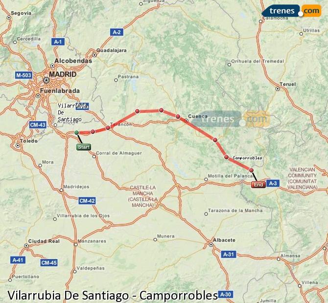 Ingrandisci la mappa Treni Vilarrubia De Santiago Camporrobles