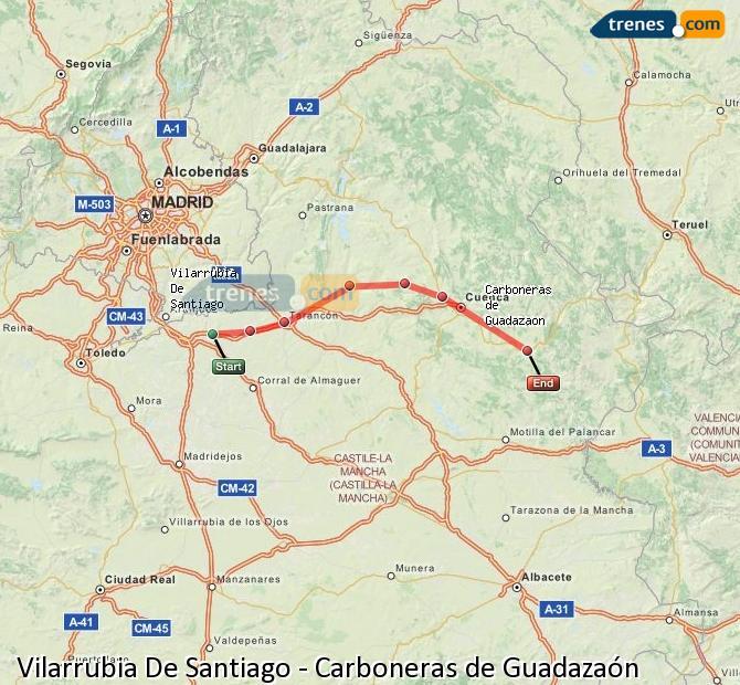 Ingrandisci la mappa Treni Vilarrubia De Santiago Carboneras de Guadazaón