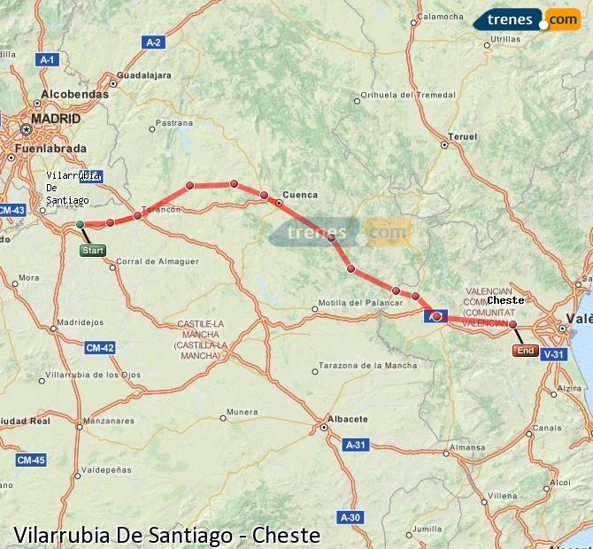 Ingrandisci la mappa Treni Vilarrubia De Santiago Cheste