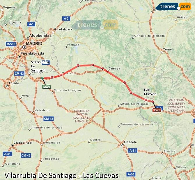 Agrandir la carte Trains Vilarrubia De Santiago Las Cuevas