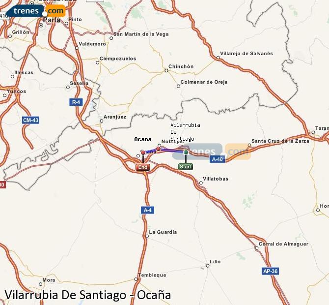 Agrandir la carte Trains Vilarrubia De Santiago Ocaña