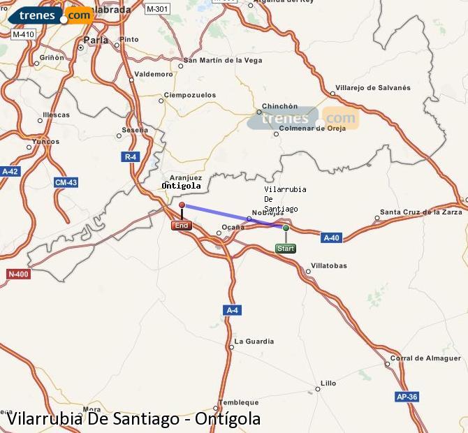 Agrandir la carte Trains Vilarrubia De Santiago Ontígola