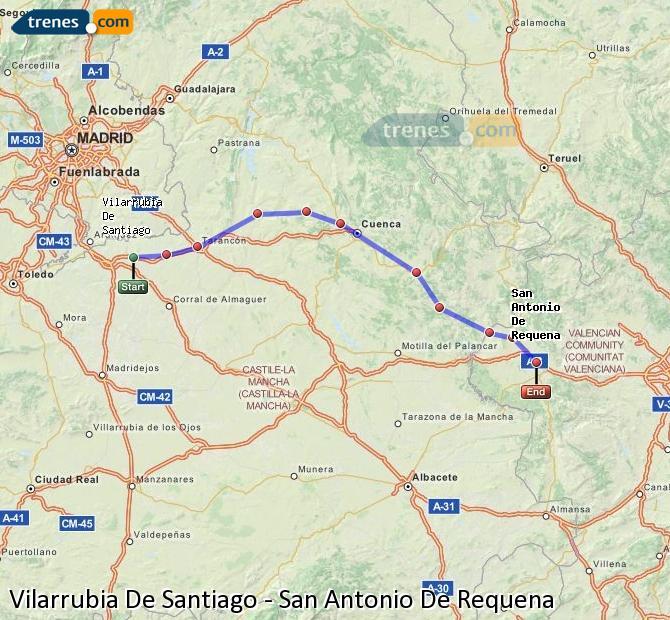 Ampliar mapa Trenes Vilarrubia De Santiago San Antonio De Requena