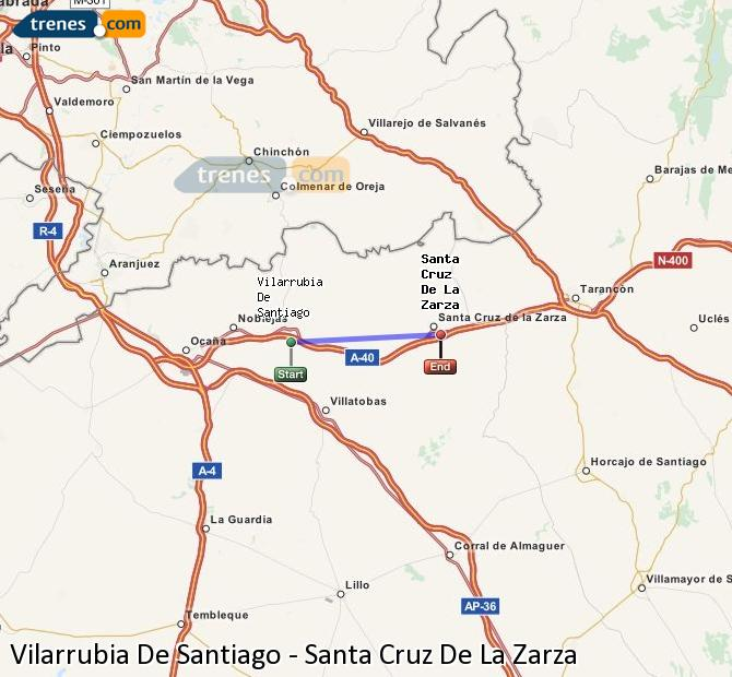 Ampliar mapa Trenes Vilarrubia De Santiago Santa Cruz De La Zarza