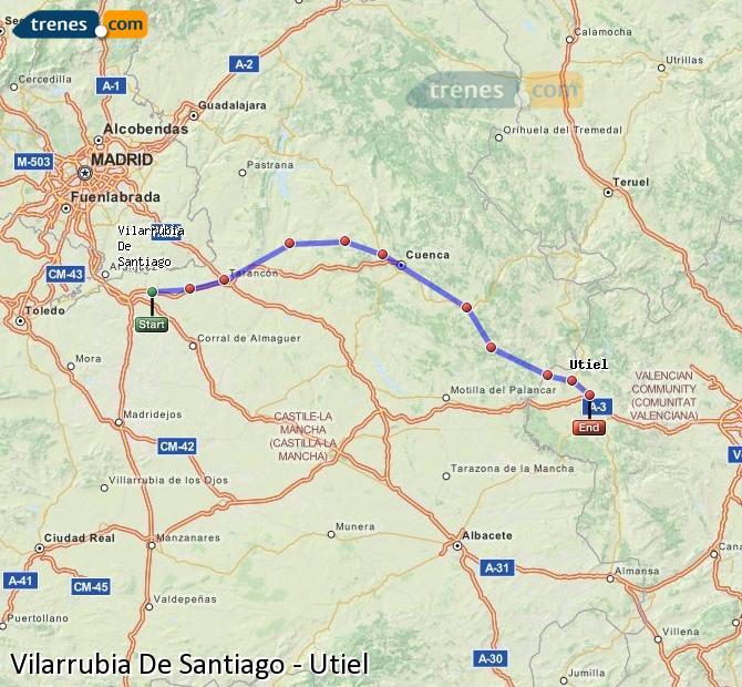 Ingrandisci la mappa Treni Vilarrubia De Santiago Utiel