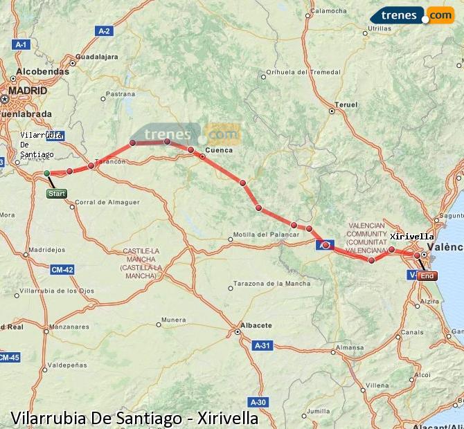 Enlarge map Trains Vilarrubia De Santiago to Xirivella