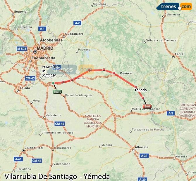 Enlarge map Trains Vilarrubia De Santiago to Yemeda