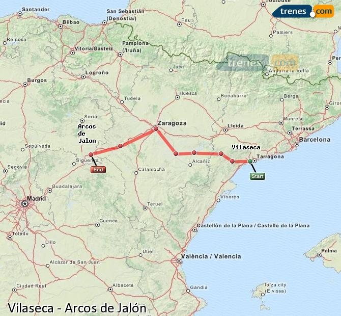 Enlarge map Trains Vilaseca to Arcos de Jalón