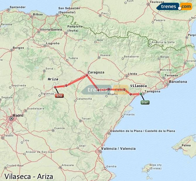 Enlarge map Trains Vilaseca to Ariza