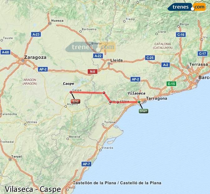 Karte vergrößern Züge Vilaseca Caspe