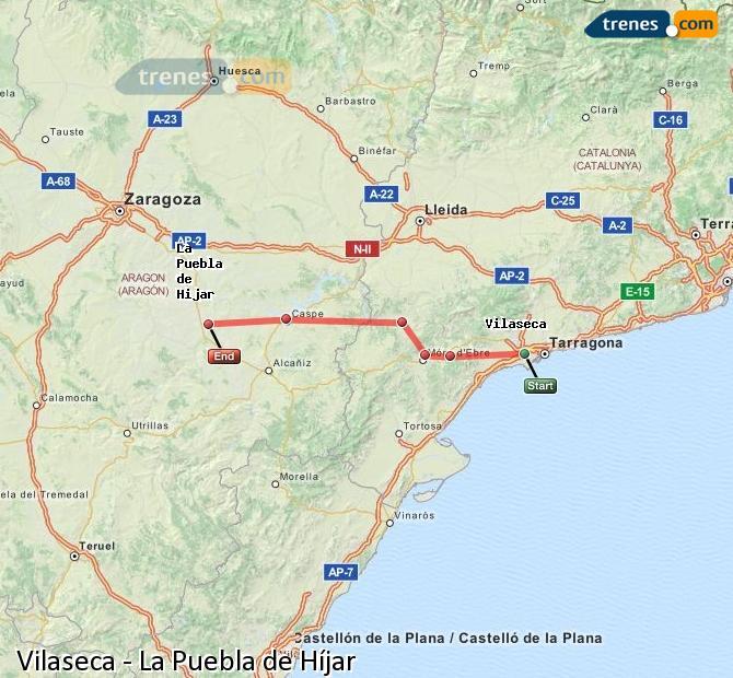 Ampliar mapa Trenes Vilaseca La Puebla de Híjar