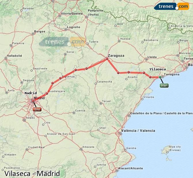 Karte vergrößern Züge Vilaseca Madrid