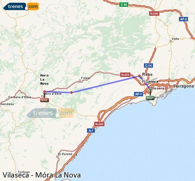Karte vergrößern Züge Vilaseca Móra La Nova