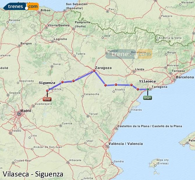 Enlarge map Trains Vilaseca to Siguenza