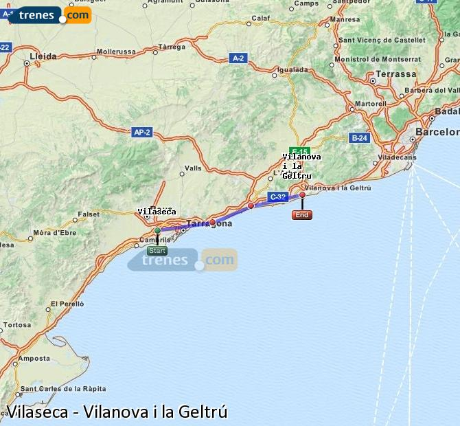 Enlarge map Trains Vilaseca to Vilanova i la Geltrú