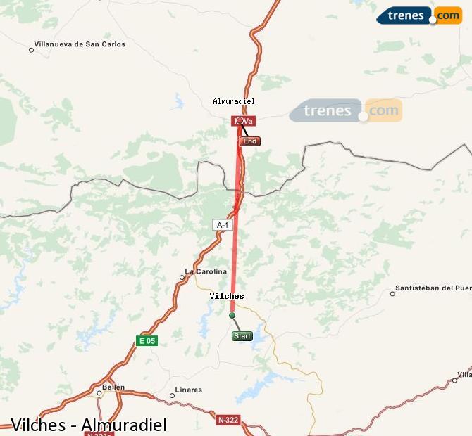 Agrandir la carte Trains Vilches Almuradiel