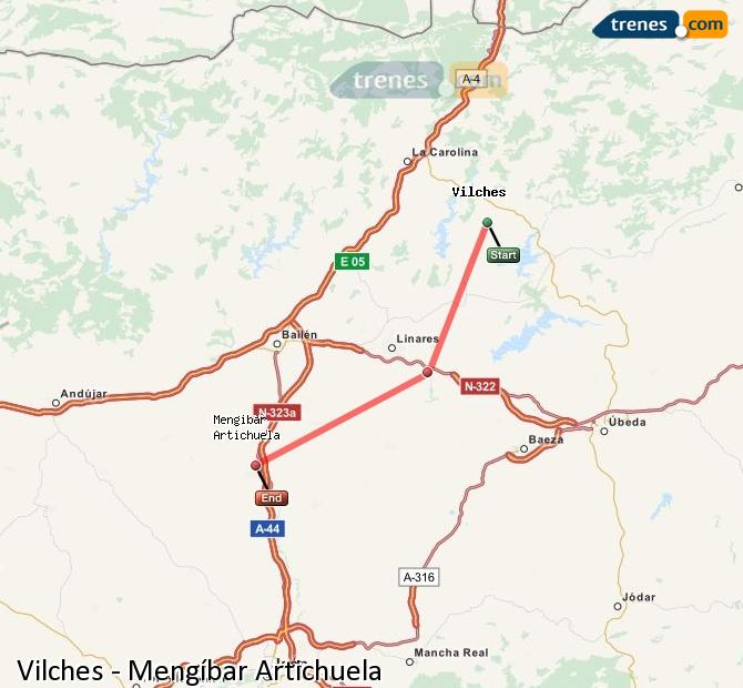 Ampliar mapa Comboios Vilches Mengíbar Artichuela