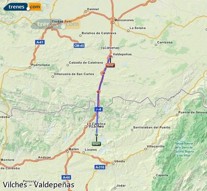 Enlarge map Trains Vilches to Valdepeñas