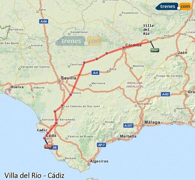 Agrandir la carte Trains Villa del Río Cádiz
