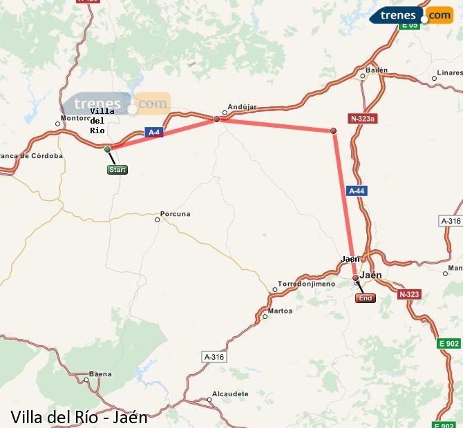 Ampliar mapa Trenes Villa del Río Jaén