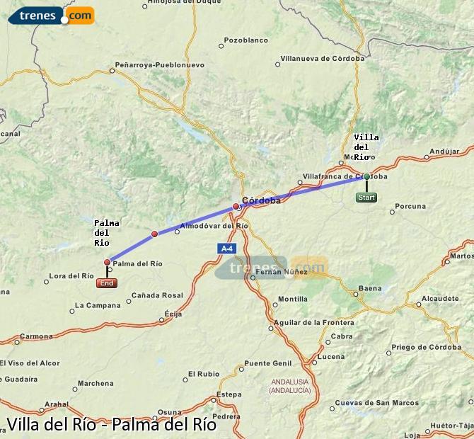 Agrandir la carte Trains Villa del Río Palma del Río