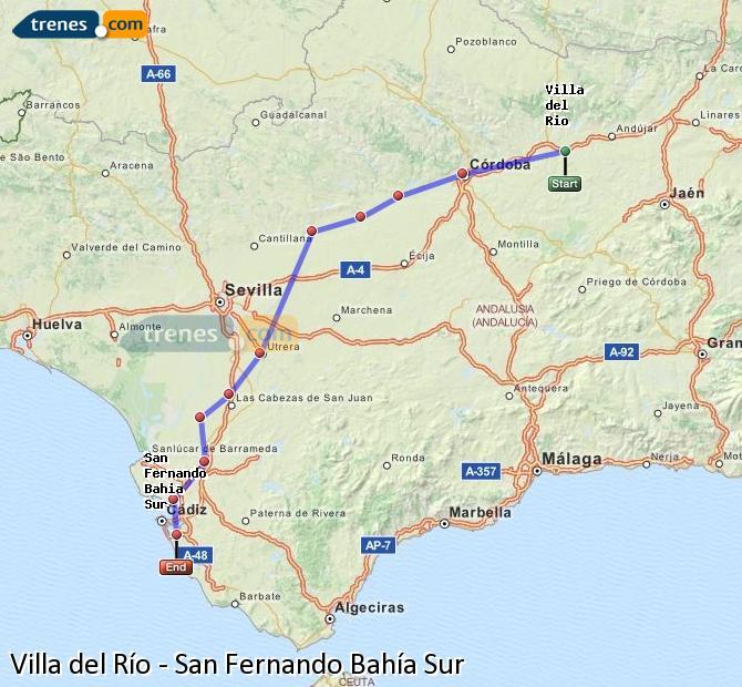 Enlarge map Trains Villa del Rio to San Fernando South Bay