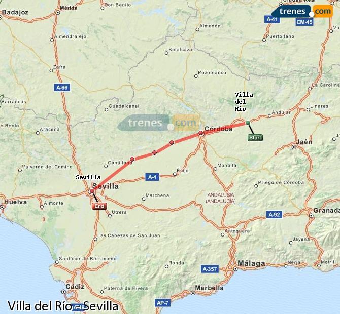 Karte vergrößern Züge Villa del Río Sevilla