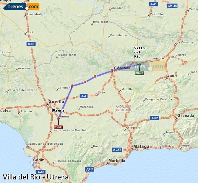 Ampliar mapa Trenes Villa del Río Utrera