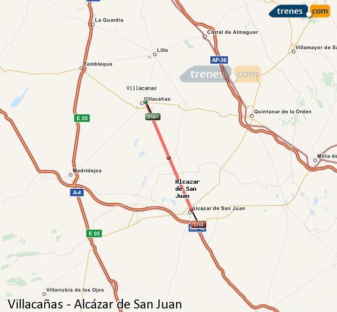 Ampliar mapa Trenes Villacañas Alcázar de San Juan