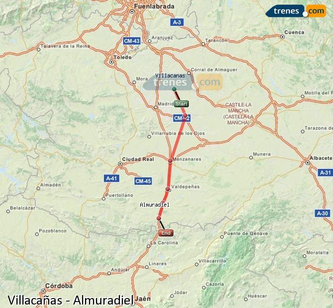 Enlarge map Trains Villacañas to Almuradiel