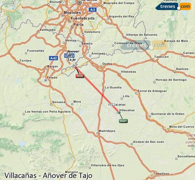 Enlarge map Trains Villacañas to Añover de Tajo