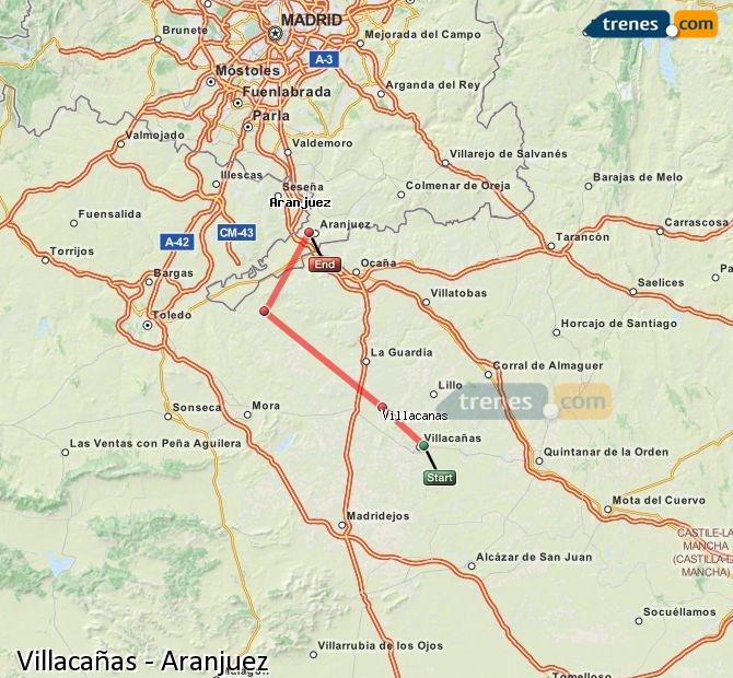 Enlarge map Trains Villacañas to Aranjuez