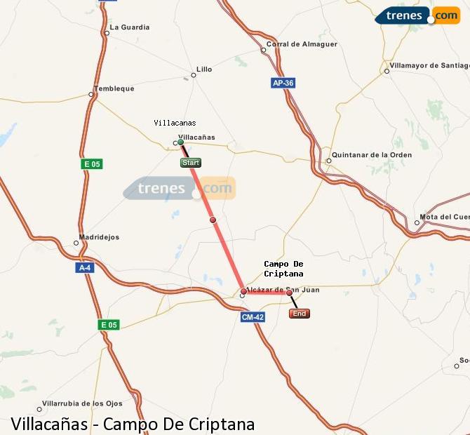 Ingrandisci la mappa Treni Villacañas Campo De Criptana