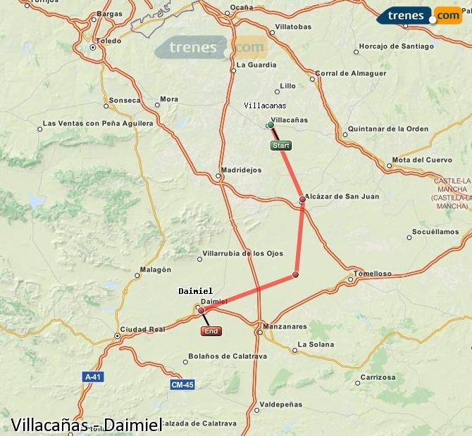 Agrandir la carte Trains Villacañas Daimiel