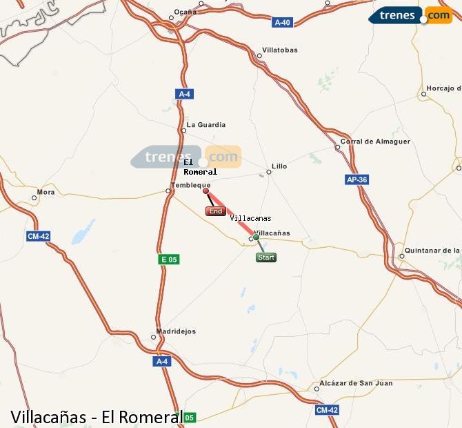 Enlarge map Trains Villacañas to El Romeral
