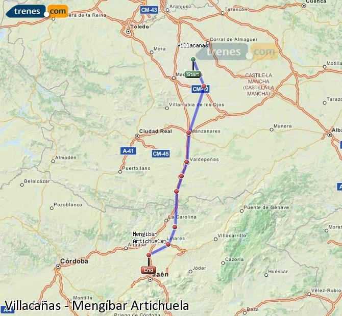 Ampliar mapa Comboios Villacañas Mengíbar Artichuela