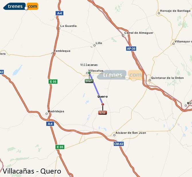 Enlarge map Trains Villacañas to Quero