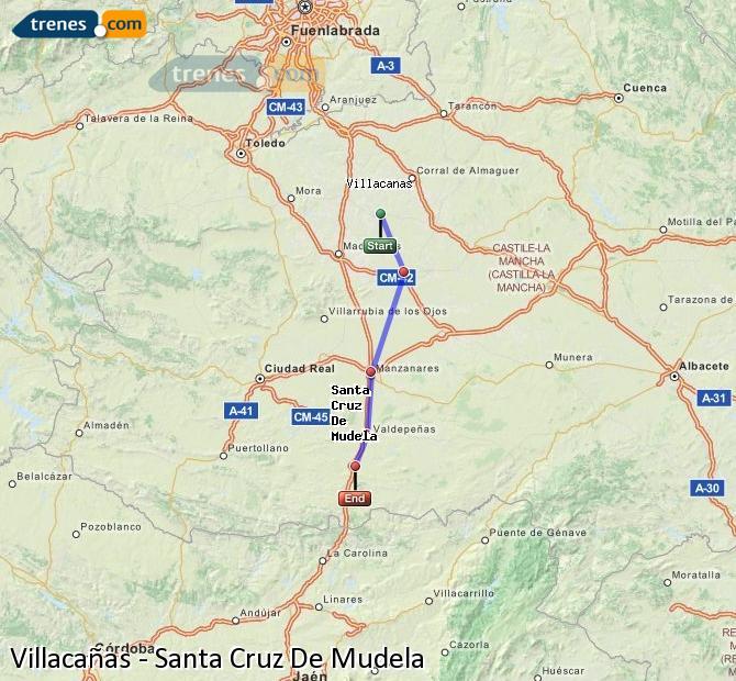 Ingrandisci la mappa Treni Villacañas Santa Cruz De Mudela