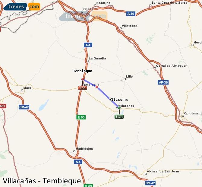 Ingrandisci la mappa Treni Villacañas Tembleque
