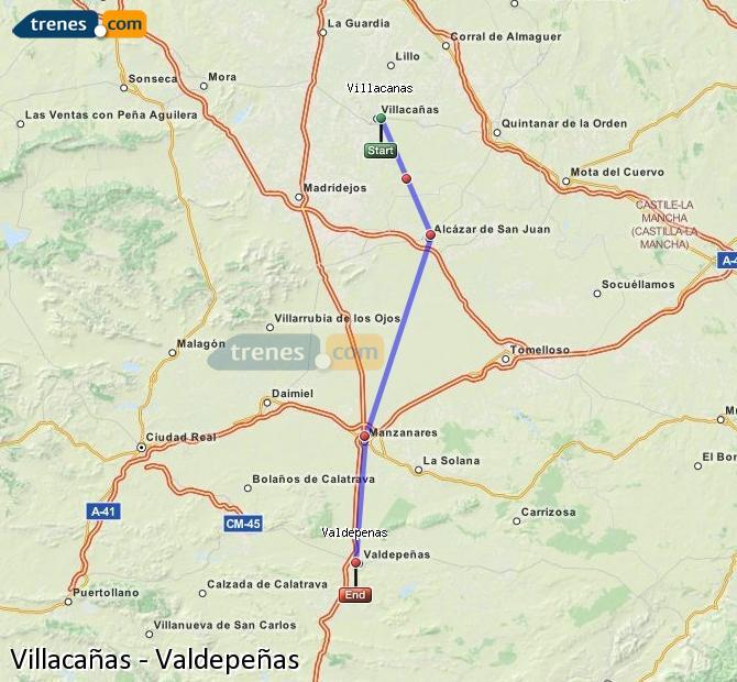 Ingrandisci la mappa Treni Villacañas Valdepeñas