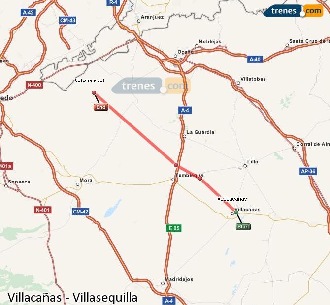 Ingrandisci la mappa Treni Villacañas Villasequilla