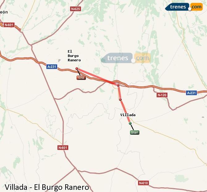 Enlarge map Trains Villada to El Burgo Ranero