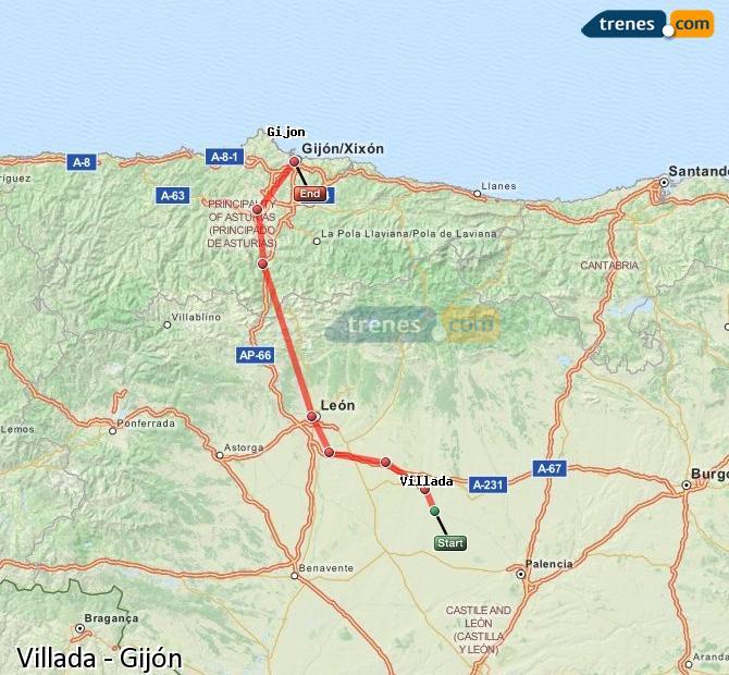 Karte vergrößern Züge Villada Gijón
