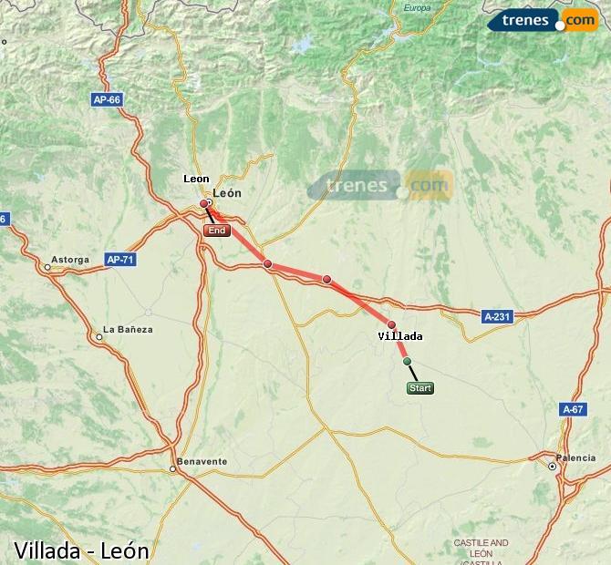 Agrandir la carte Trains Villada León