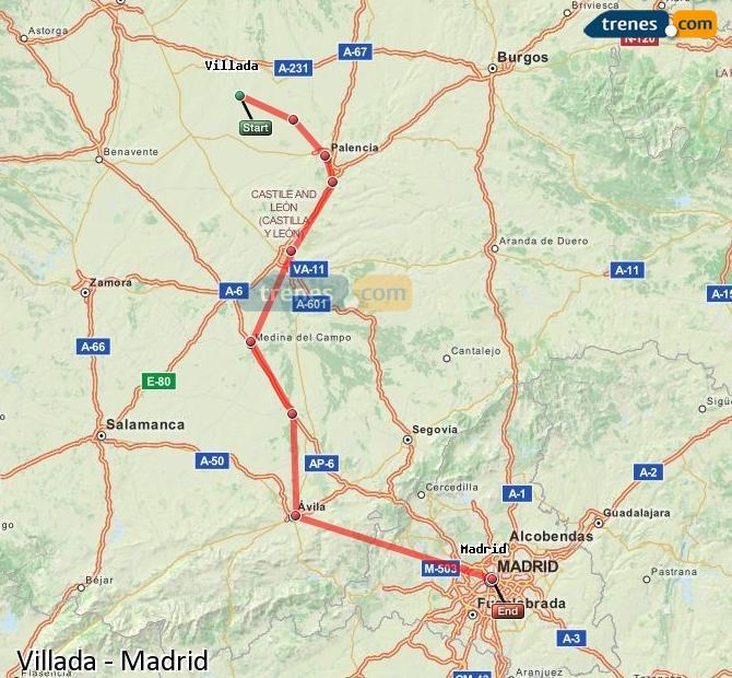 Agrandir la carte Trains Villada Madrid