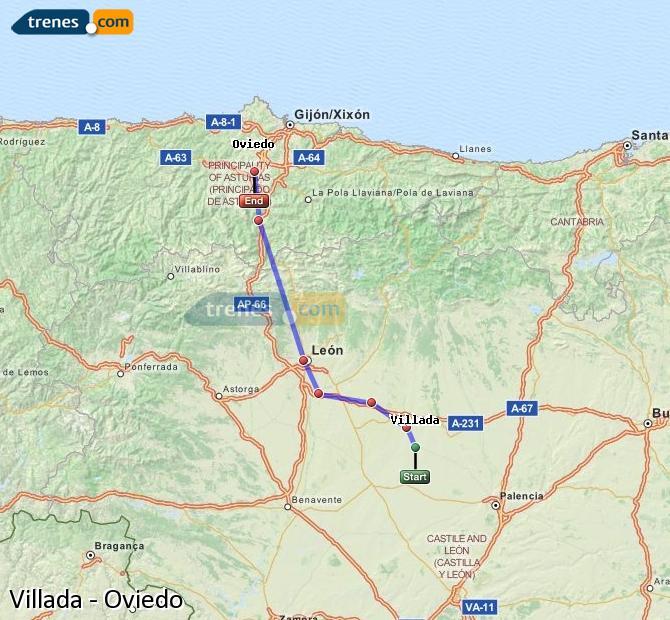 Karte vergrößern Züge Villada Oviedo